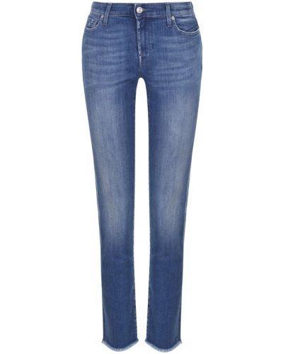 Укороченные джинсы-скинни с потертостями 7 For All Mankind