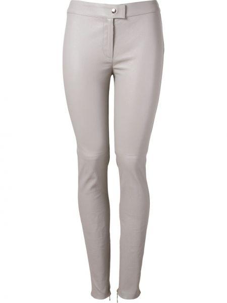 Кожаные серые брюки с поясом скинни Martha Medeiros