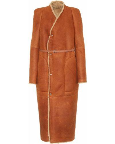 Зимнее пальто плюшевое замшевое Rick Owens