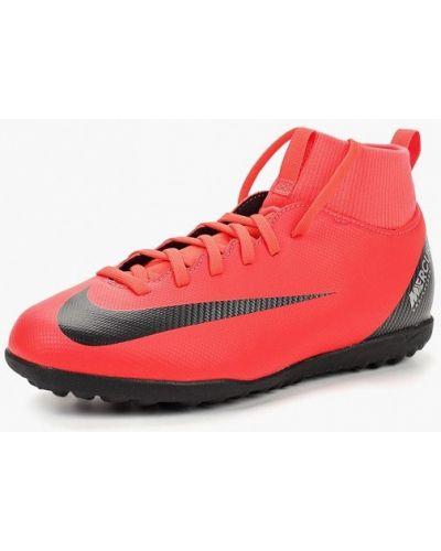 Бутсы красный кожаный Nike