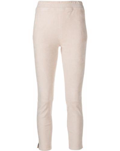 Бежевые кожаные укороченные брюки с карманами Arma