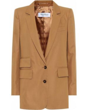 Ватный хлопковый бежевый костюмный пиджак Max Mara
