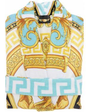 Niebieski szlafrok bawełniany z paskiem Versace