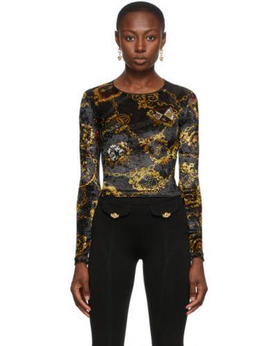 Черная джинсовая рубашка с длинными рукавами с воротником Versace Jeans Couture