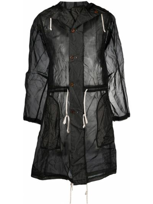 Ze sznurkiem do ściągania z rękawami czarny płaszcz przeciwdeszczowy od płaszcza przeciwdeszczowego Black Comme Des Garçons