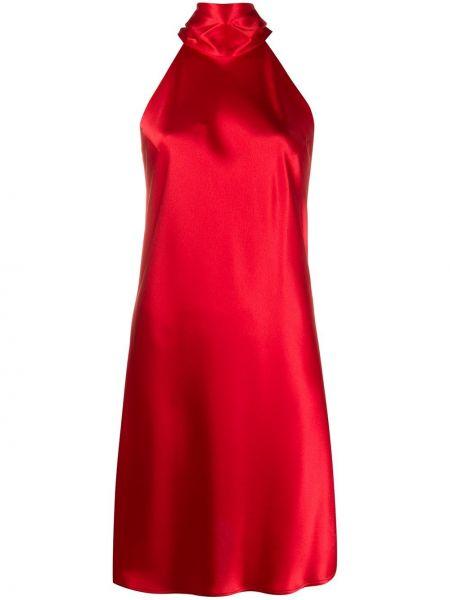 Красное расклешенное платье мини без рукавов с вырезом Galvan