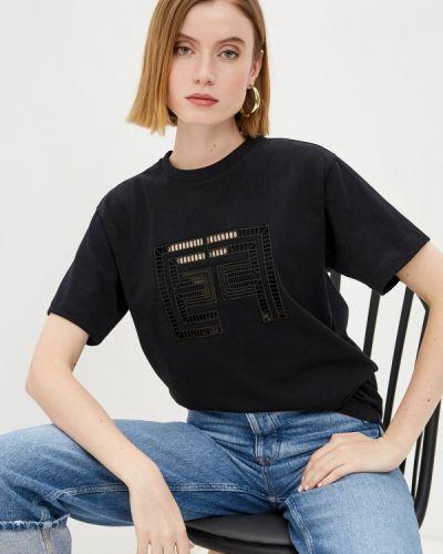 Черная футболка с короткими рукавами Elisabetta Franchi