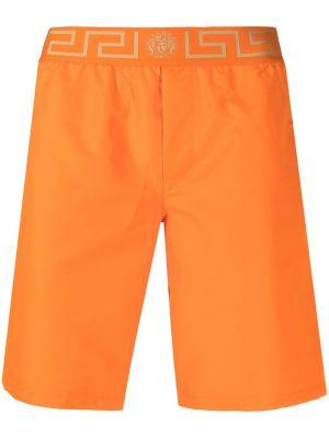 С орнаментом оранжевые плавки-боксеры с поясом Versace