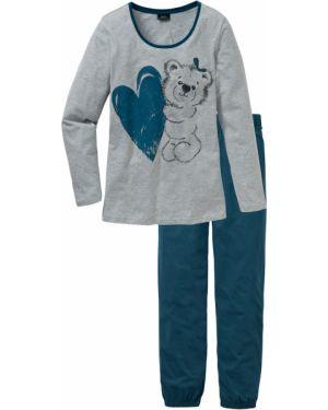 Пижама с брюками с длинными рукавами зеленый Bonprix