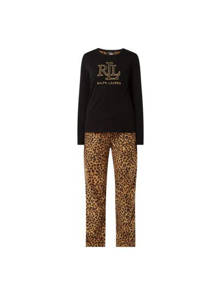 Bawełna piżama czarny spodni piżama z długimi rękawami Lauren Ralph Lauren