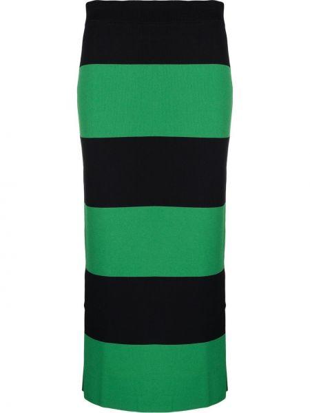 Zielona spódnica ołówkowa z wysokim stanem w paski Lacoste Live