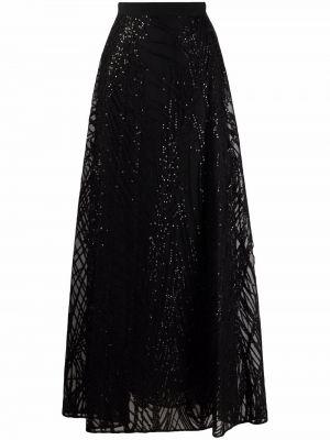 Шелковая юбка миди - черная Elie Saab