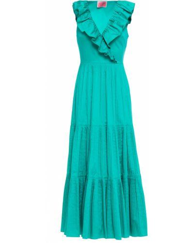 Плиссированное хлопковое зеленое платье миди Kate Spade New York