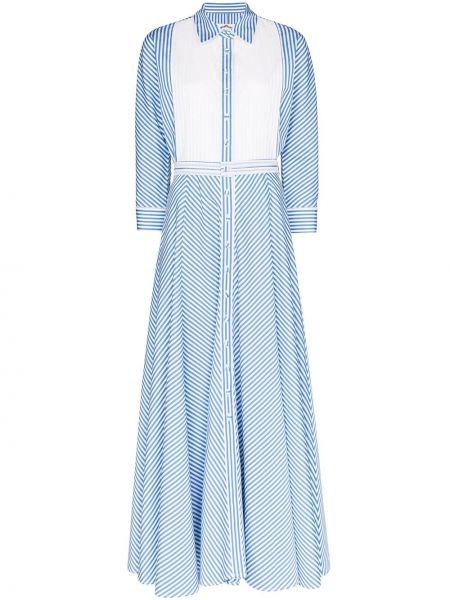 Niebieska sukienka długa w paski z długimi rękawami Evi Grintela