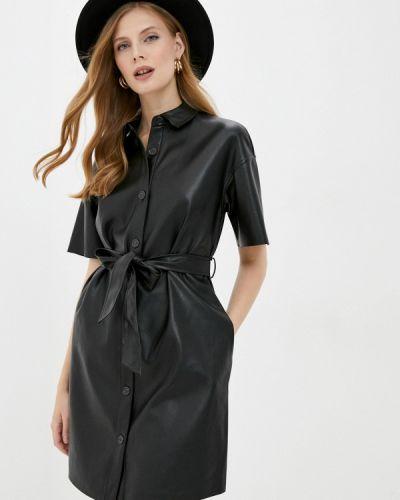Кожаное черное платье Zarina