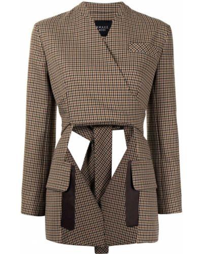 Асимметричный коричневый удлиненный пиджак в клетку A.w.a.k.e. Mode
