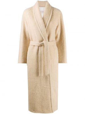 Коричневое однобортное пальто с поясом из мохера Gentry Portofino