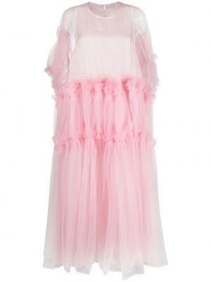 Розовое платье мини с короткими рукавами из фатина Comme Des Garçons Noir Kei Ninomiya