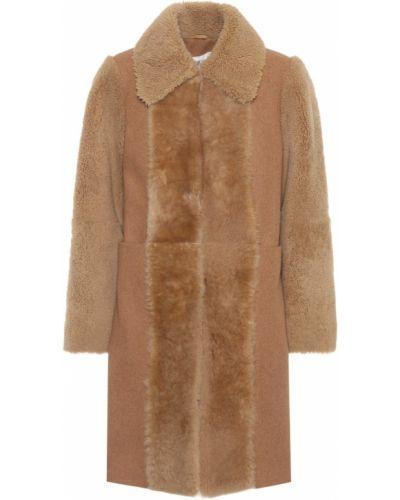 Шерстяное пальто классическое с опушкой See By Chloé