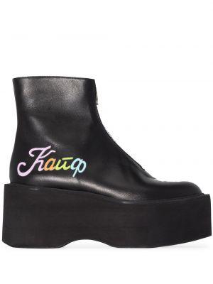 Черные кожаные ботинки на платформе Natasha Zinko
