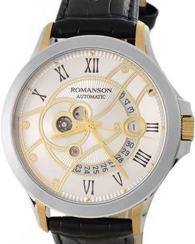 Часы водонепроницаемые механические с кожаным ремешком Romanson
