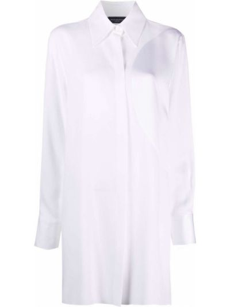 Biała koszula z wiskozy zapinane na guziki Piazza Sempione