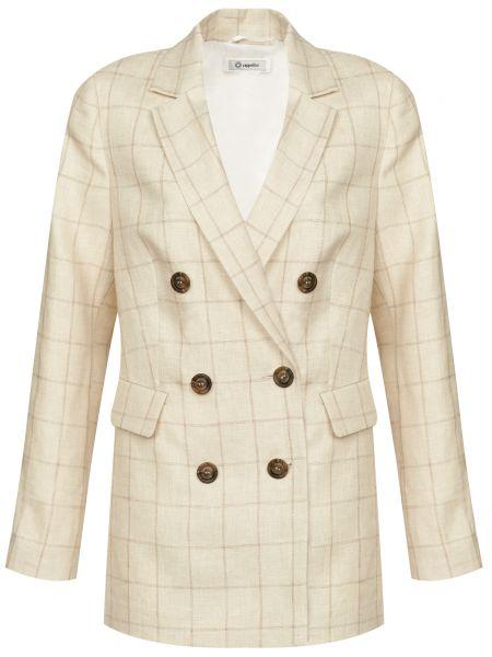 Бежевый пиджак на пуговицах из вискозы Cappellini