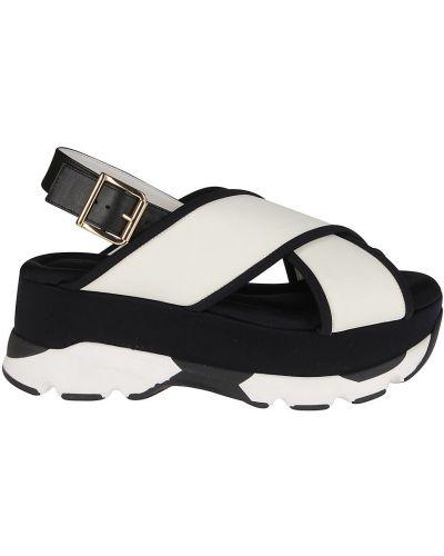 Sandały skórzane - białe Marni