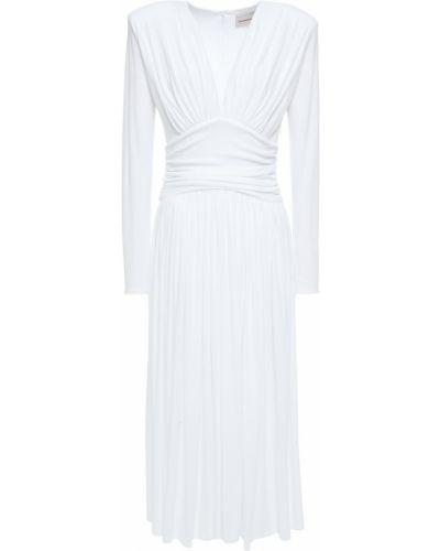 Biała sukienka midi z wiskozy Alexandre Vauthier