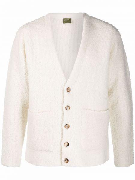 Biały sweter z dekoltem w serek Lardini