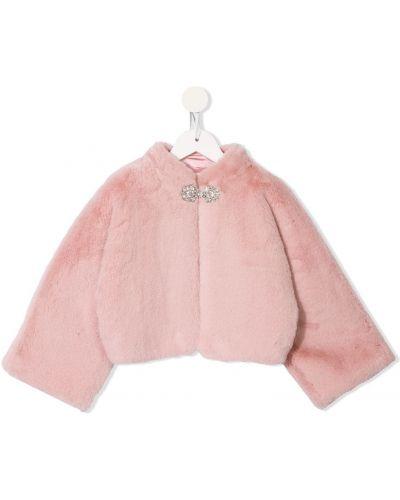 С рукавами розовая искусственная шуба с воротником с подкладкой Tutu Du Monde