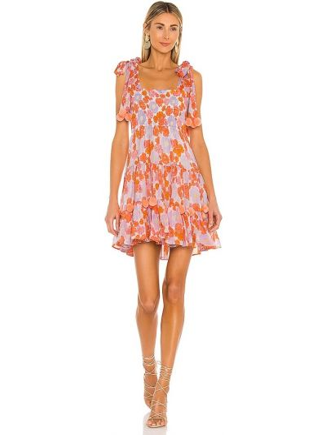 Оранжевое платье на бретелях из вискозы Sundress