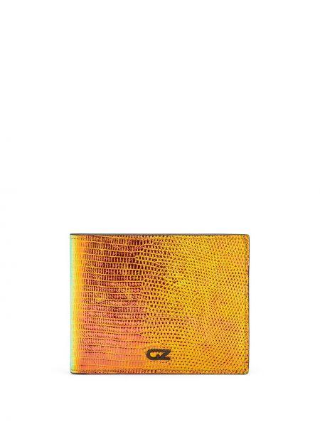 Pomarańczowy portfel z prawdziwej skóry z gniazdem Giuseppe Zanotti