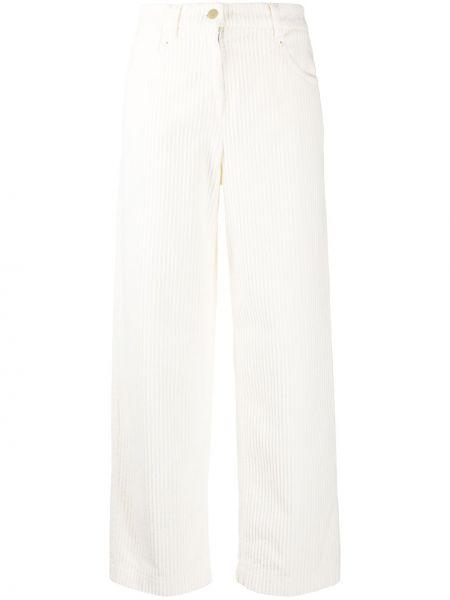 Белые классические брюки вельветовые с карманами Incotex