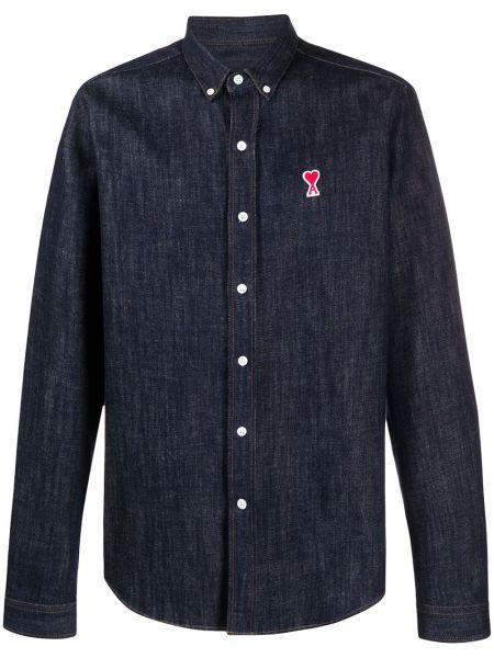 Niebieska koszula jeansowa bawełniana z długimi rękawami Ami