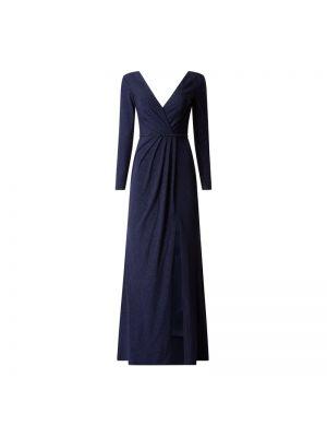 Niebieska sukienka wieczorowa kopertowa z długimi rękawami Mascara