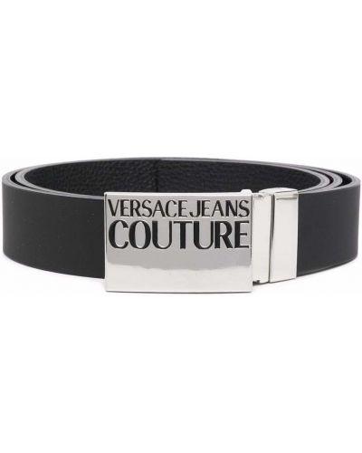 Czarny pasek skórzany Versace Jeans Couture