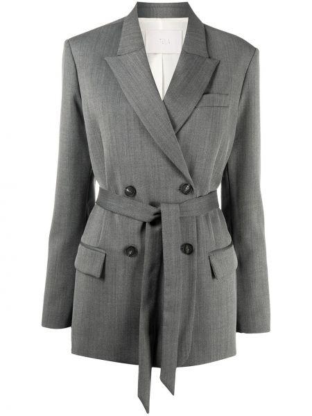 Серый пиджак с карманами на пуговицах с манжетами Tela