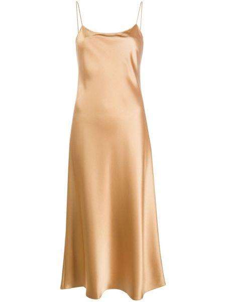 Тонкое платье миди с открытой спиной на бретелях круглое Theory