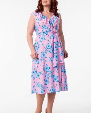 Платье с поясом розовое с V-образным вырезом Wisell