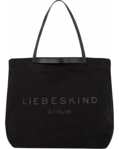 Czarna torba na ramię bawełniana w paski Liebeskind Berlin