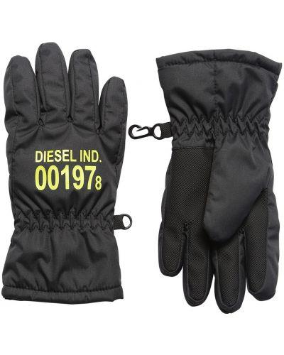 Czarny nylon rękawiczki prążkowany z mankietami Diesel Kids