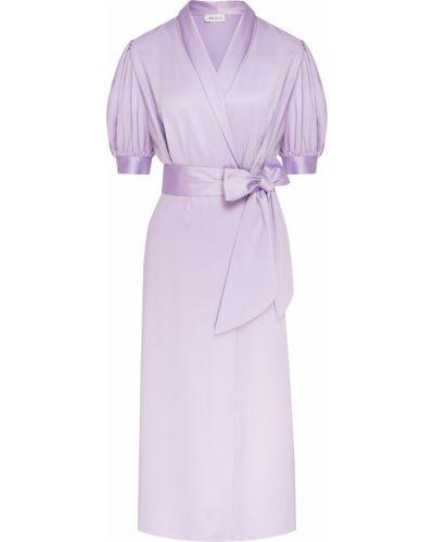 С рукавами платье миди с запахом с поясом ли-лу