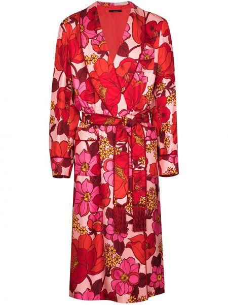 Szlafrok z jedwabiu z długimi rękawami w kwiaty Tom Ford