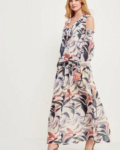 Платье с открытыми плечами бежевое Lost Ink.