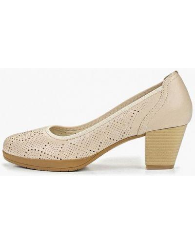 Туфли на каблуке кожаные бежевый юничел