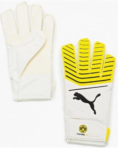 Белые кожаные перчатки Puma