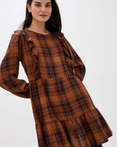 Прямое коричневое джинсовое платье Please