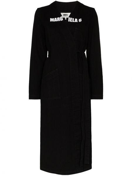 Пальто с запахом с принтом Mm6 Maison Margiela