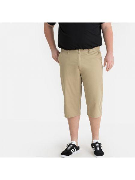 Хлопковые бежевые брюки с поясом La Redoute
